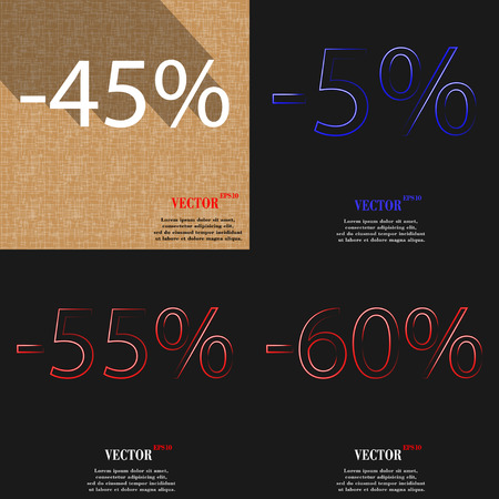 55 60: 5, 55, 60 icon. Set of percent discount on abstract backgrounds. Vector illustration