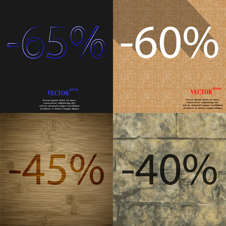 40 45: 60, 45, 40 icon. Set of percent discount on abstract backgrounds. Vector illustration