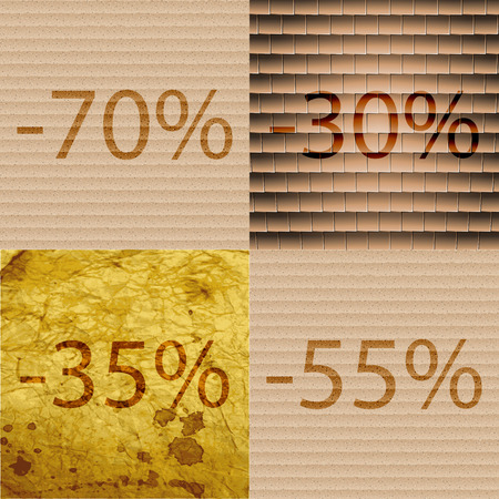 30 to 35: 30, 35, 55 icon. Set of percent discount on abstract backgrounds. Vector illustration