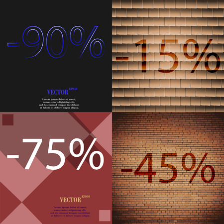 45: 15, 75, 45 icon. Set of percent discount on abstract backgrounds. Vector illustration