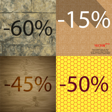 45 50: 15, 45, 50 icon. Set of percent discount on abstract backgrounds. Vector illustration