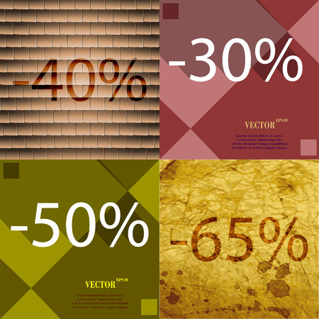 65: 30, 50, 65 icon. Set of percent discount on abstract backgrounds. Vector illustration