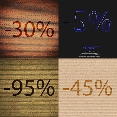 95: 5, 95, 45 icon. Set of percent discount on abstract backgrounds. Vector illustration