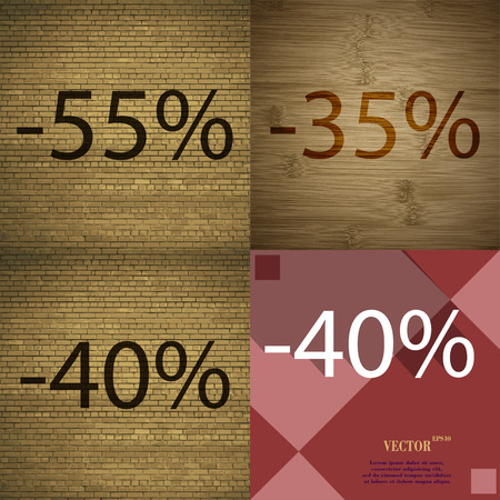 35 40: 35, 40 icon. Set of percent discount on abstract backgrounds. Vector illustration