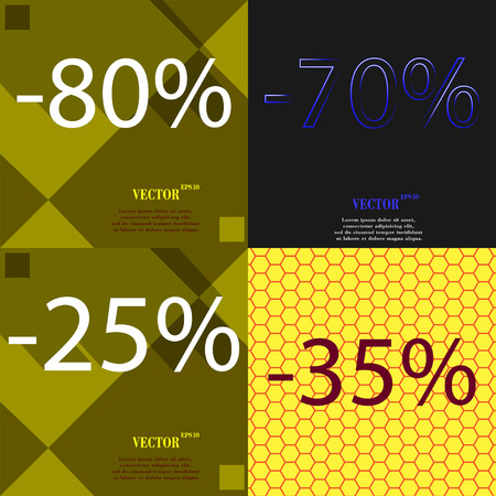 25 35: 70, 25, 35 icon. Set of percent discount on abstract backgrounds. Vector illustration Illustration