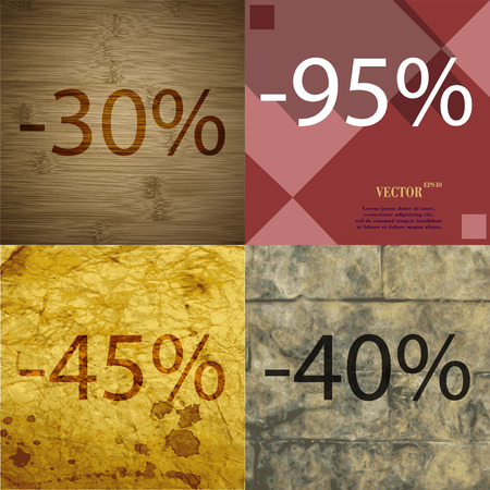 40 45: 95, 45, 40 icon. Set of percent discount on abstract backgrounds. Vector illustration