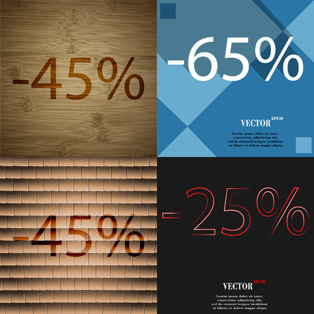 65: 65, 45, 25 icon. Set of percent discount on abstract backgrounds. Vector illustration Illustration