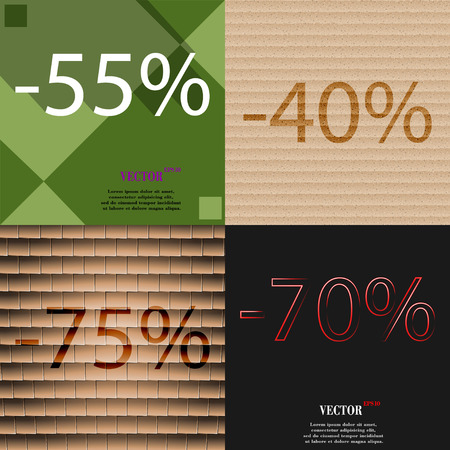 70 75: 40, 75, 70 icon. Set of percent discount on abstract backgrounds. Vector illustration