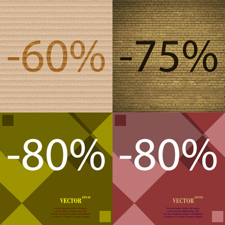 75 80: 75, 80 icon. Set of percent discount on abstract backgrounds. Vector illustration