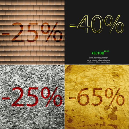 65: 40, 25, 65 icon. Set of percent discount on abstract backgrounds. Vector illustration