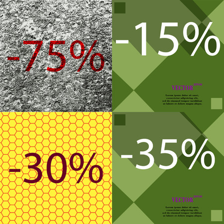 30 to 35: 15, 30, 35 icon. Set of percent discount on abstract backgrounds. Vector illustration Illustration