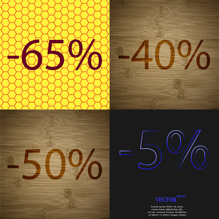 40 50: 40, 50, 5 icon. Set of percent discount on abstract backgrounds. Vector illustration Illustration