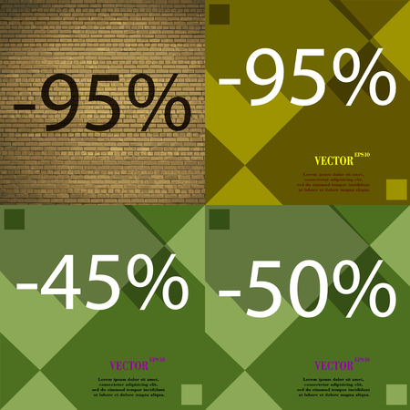45 50: 95, 45, 50 icon. Set of percent discount on abstract backgrounds. Vector illustration Illustration