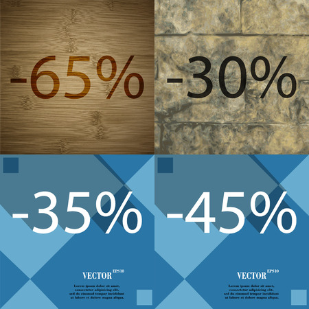 30 to 35: 30, 35, 45 icon. Set of percent discount on abstract backgrounds. Vector illustration