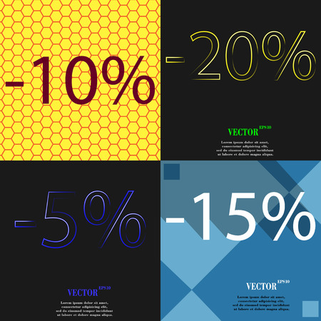 15 20: 20, 5, 15 icon. Set of percent discount on abstract backgrounds. Vector illustration
