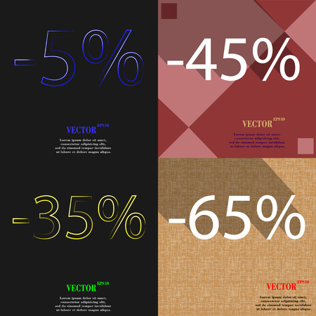 45: 45, 35, 65 icon. Set of percent discount on abstract backgrounds. Vector illustration Illustration