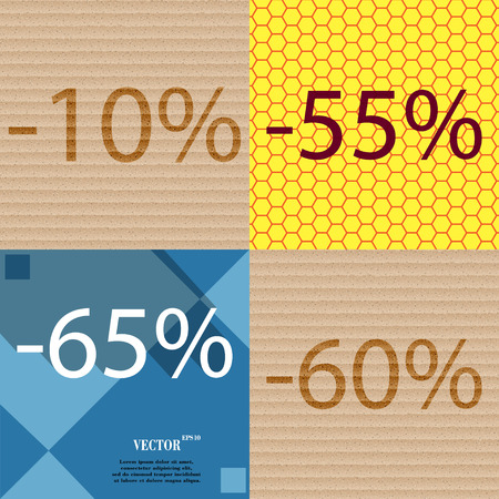 55 60: 55, 65, 60 icon. Set of percent discount on abstract backgrounds. Vector illustration