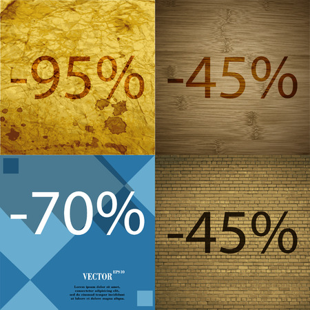 45: 45, 70 icon. Set of percent discount on abstract backgrounds. Vector illustration
