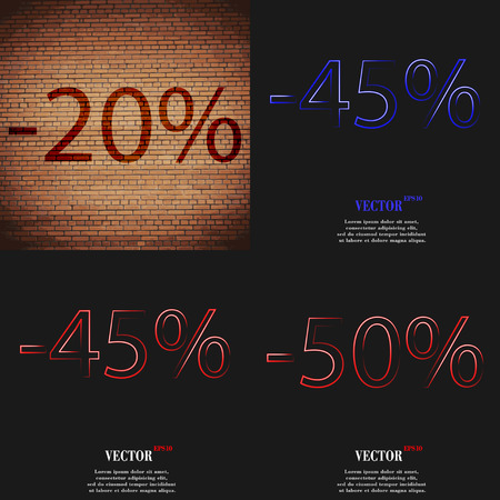 45 50: 45, 50 icon. Set of percent discount on abstract backgrounds. Vector illustration