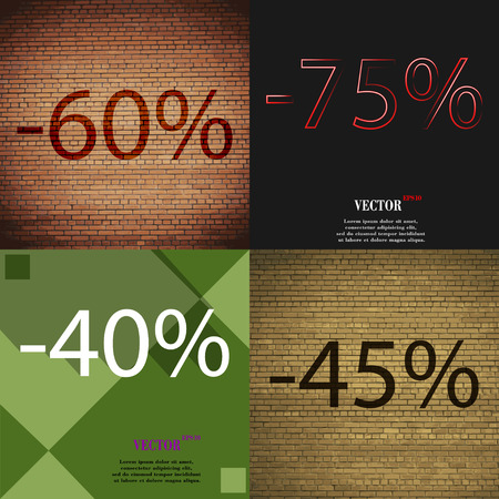 40 45: 75, 40, 45 icon. Set of percent discount on abstract backgrounds. Vector illustration