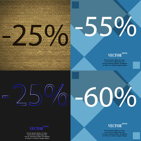 55 60: 55, 25, 60 icon. Set of percent discount on abstract backgrounds. Vector illustration Illustration