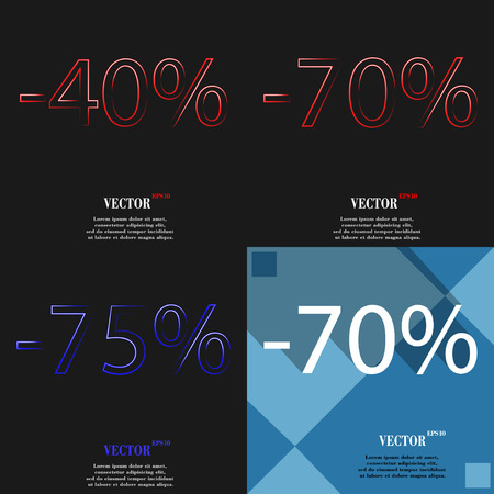 70 75: 70, 75 icon. Set of percent discount on abstract backgrounds. Vector illustration
