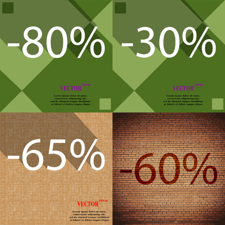 60 65: 30, 65, 60 icon. Set of percent discount on abstract backgrounds. Vector illustration Illustration