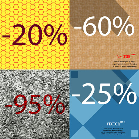 95: 60, 95, 25 icon. Set of percent discount on abstract backgrounds. Vector illustration Illustration