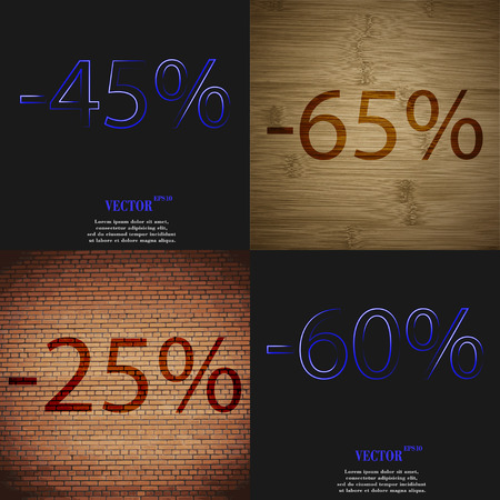 60 65: 65, 25, 60 icon. Set of percent discount on abstract backgrounds. Vector illustration Illustration