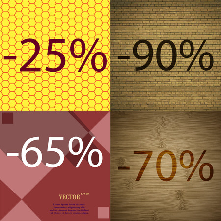 65 70: 90, 65, 70 icon. Set of percent discount on abstract backgrounds. Vector illustration Illustration