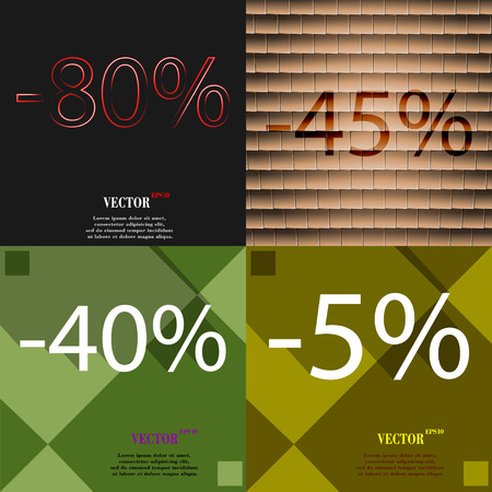 40 45: 45, 40, 5 icon. Set of percent discount on abstract backgrounds. Vector illustration Illustration