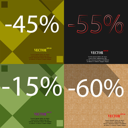 55 60: 55, 15, 60 icon. Set of percent discount on abstract backgrounds. Vector illustration