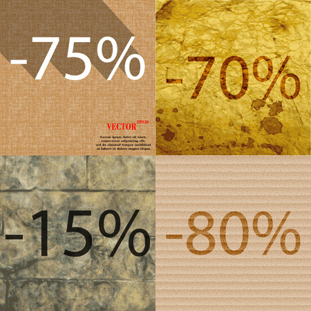 70 80: 70, 15, 80 icon. Set of percent discount on abstract backgrounds. Vector illustration