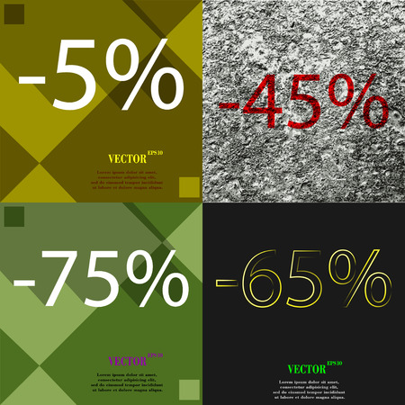 65: 45, 75, , 65 icon. Set of percent discount on abstract backgrounds. Vector illustration