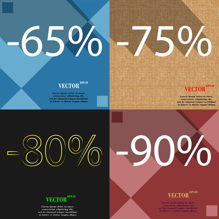 75 80: 75, 80, 90 icon. Set of percent discount on abstract backgrounds. Vector illustration