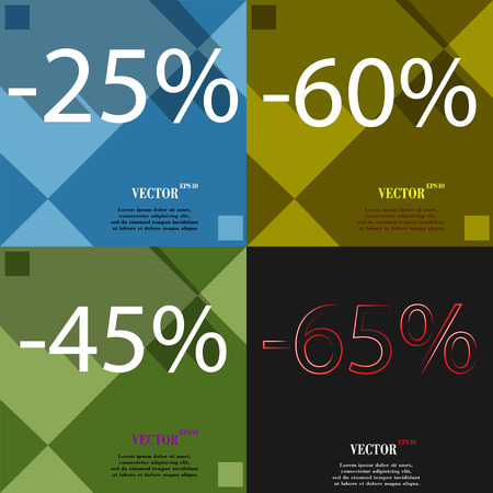 60 65: 60, 45, 65 icon. Set of percent discount on abstract backgrounds. Vector illustration Illustration