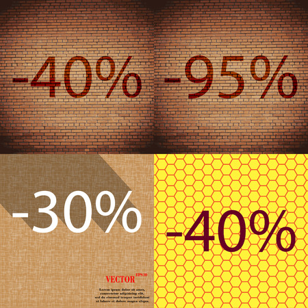 30 to 40: 95, 30, 40 icon. Set of percent discount on abstract backgrounds. Vector illustration