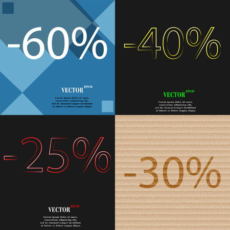 25 30: 40, 25, 30 icon. Set of percent discount on abstract backgrounds. Vector illustration