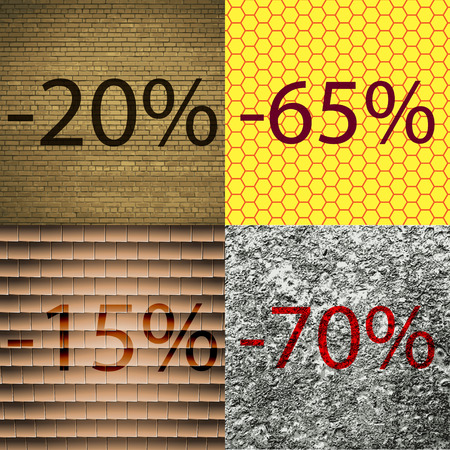 65 70: 65, 15, 70 icon. Set of percent discount on abstract backgrounds. Vector illustration