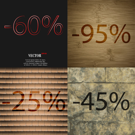 95: 95, 25, 45 icon. Set of percent discount on abstract backgrounds. Vector illustration