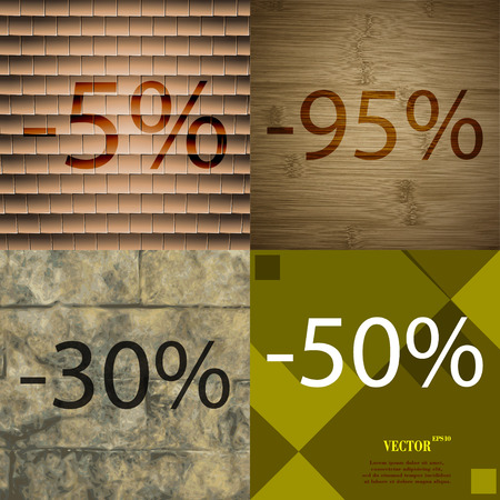 95: 95, 30, 50 icon. Set of percent discount on abstract backgrounds. Vector illustration Illustration