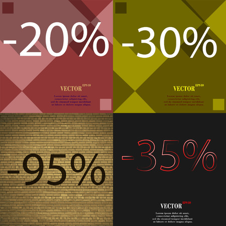 30 to 35: 30, 95, 35 icon. Set of percent discount on abstract backgrounds. Vector illustration Illustration