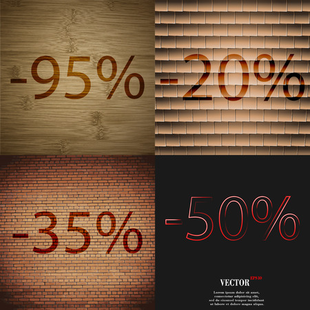 35: 20, 35, 50 icon. Set of percent discount on abstract backgrounds. Vector illustration