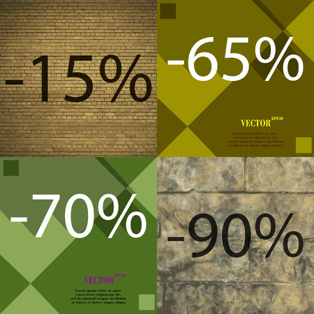 65 70: 65, 70, 90 icon. Set of percent discount on abstract backgrounds. Vector illustration
