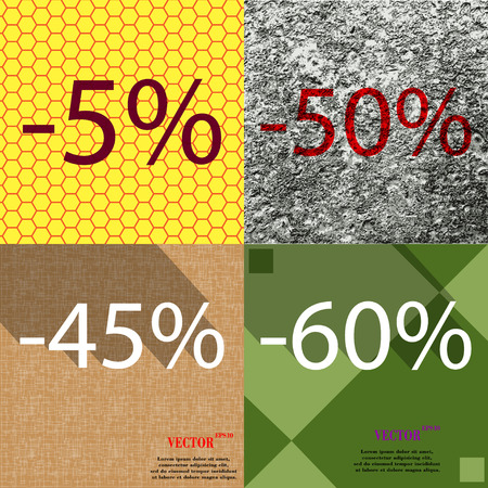 45 50: 50, 45, 60 icon. Set of percent discount on abstract backgrounds. Vector illustration