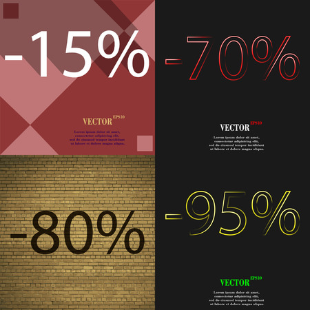 70 80: 70, 80, 95 icon. Set of percent discount on abstract backgrounds. Vector illustration Illustration