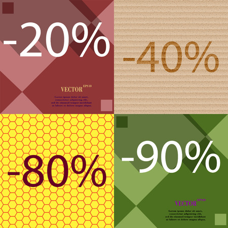 80 90: 40, 80, 90 icon. Set of percent discount on abstract backgrounds. Vector illustration
