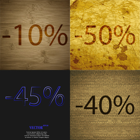 40 45: 50, 45, 40 icon. Set of percent discount on abstract backgrounds. Vector illustration