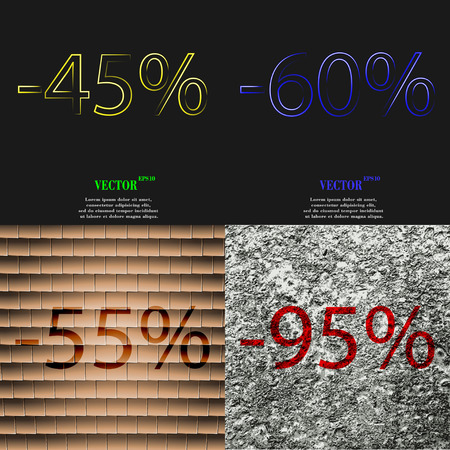 55 60: 60, 55, 95 icon. Set of percent discount on abstract backgrounds. Vector illustration