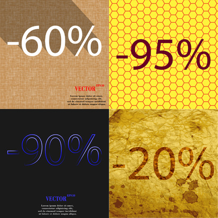 95: 95, 90, 20 icon. Set of percent discount on abstract backgrounds. Vector illustration Illustration